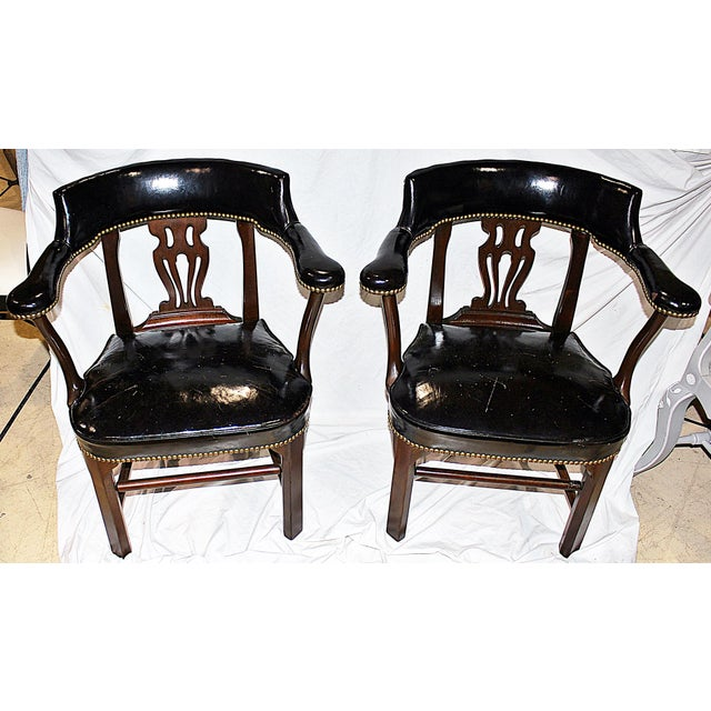Leather Lyre-Back Lawyer Chairs - Pair - Image 3 of 9