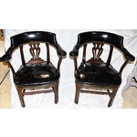 Image of Leather Lyre-Back Lawyer Chairs - Pair
