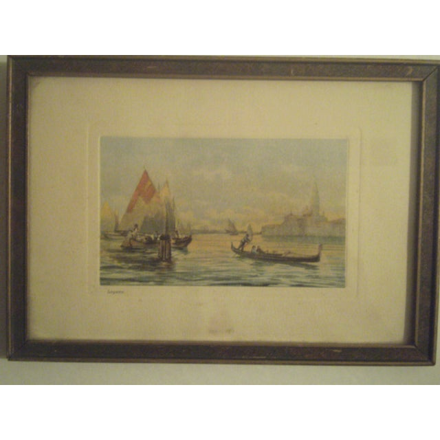 1920s Framed Colored Venice Print - Image 8 of 8