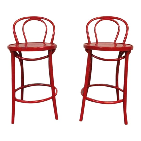 Contemporary Red Metal Bar Stools - A Pair - Image 1 of 6