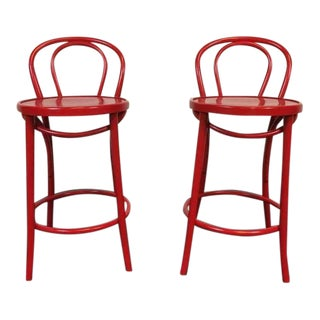 Contemporary Red Metal Bar Stools - A Pair