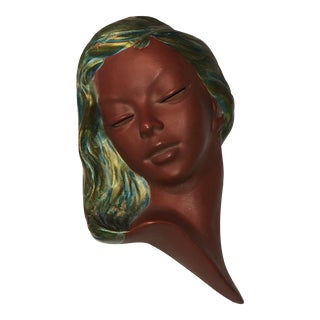 German Earthenware Women's Face Wall Sculpture