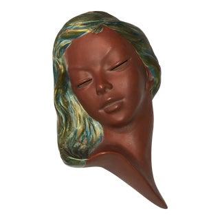 German Earthenware Women's Face Wall Sculpture