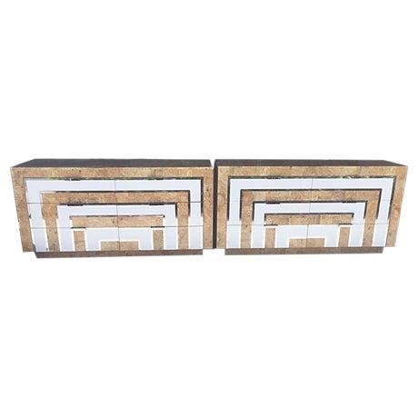 Mid-Century Burl Wood & White Mica Dressers - Pair - Image 1 of 8