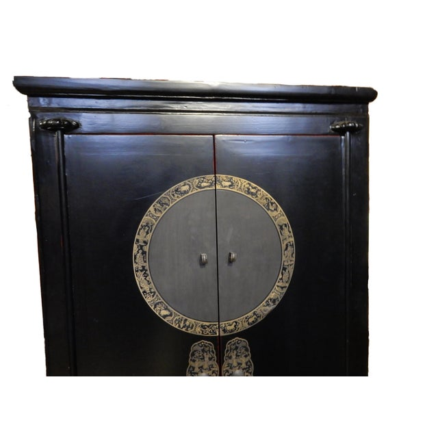 Black Lacquer Corner Armoire - Image 2 of 10