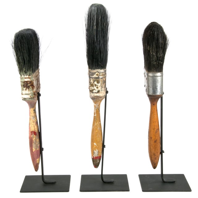 Vintage Paint Brushes on Iron Stands - Set of 3 - Image 2 of 2