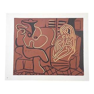 """Vintage Picasso Lithograph-""""FemmeDans Un Fauteuil Et Guitariste"""""""