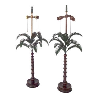 Palm Tree Wood Lamps - A Pair