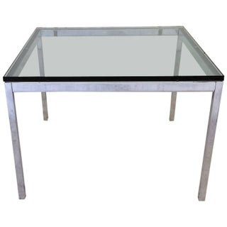 Florence Knoll Glass Top  & Chrome Side Table