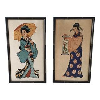 Asian Figure Needlepoint - Pair