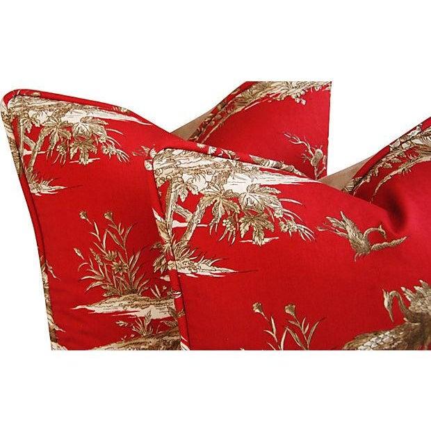 Designer Shanghai Crane Toile Pillows - Pair - Image 5 of 8