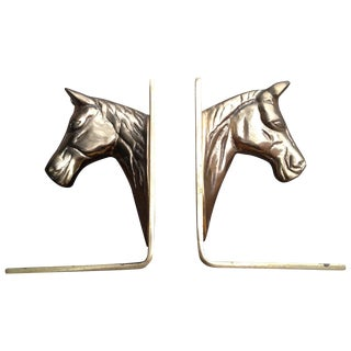 Horse Head Brass Bookends - A Pair