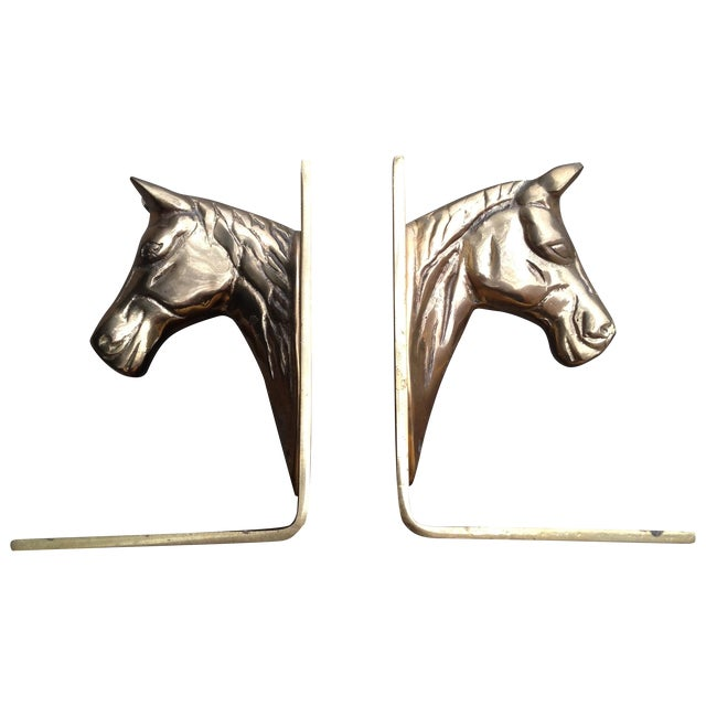 Image of Horse Head Brass Bookends - A Pair