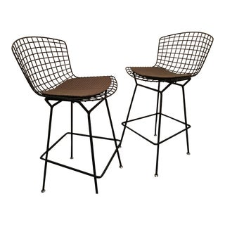 Bertoia Bar Stools, With Custom Removable Knoll Seat Pads - a Pair