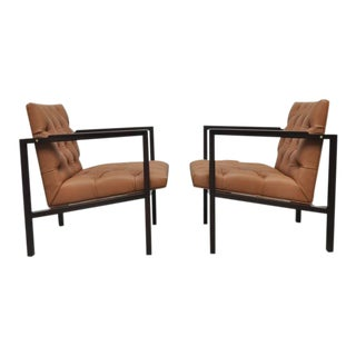 Dunbar Tufted Leather Lounge Chairs by Edward Wormley