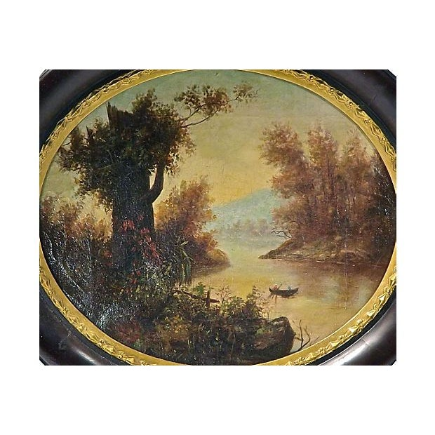Antique Oval Lake Scene Oil Painting - Image 2 of 4