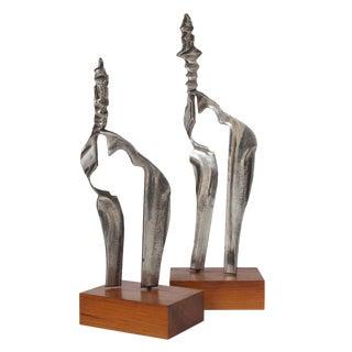 Cast Aluminum Modernist Sculptures - A Pair