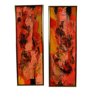 "Mid Century Abstract Expressionist Oil paintings signed ""Griffin"" - a Pair"