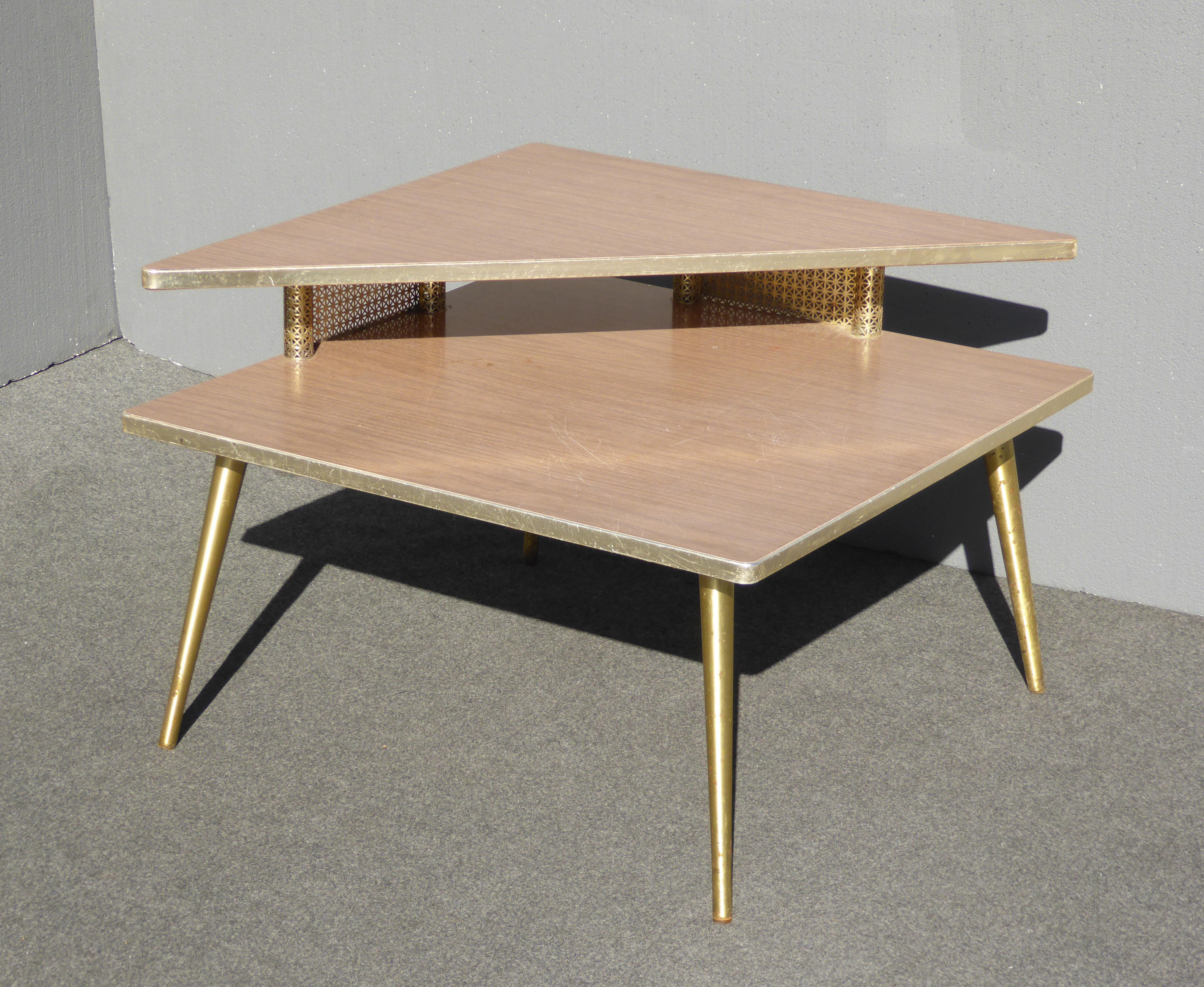 Nice Mid Century Modern Retro Corner Table /End Table With Brass Peg Legs    Image 2