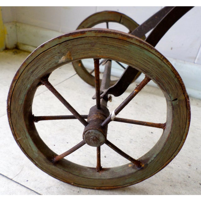 Antique Victorian Tricycle Metal & Wood Wheels - Image 7 of 9