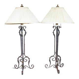 French Wrought Iron Table Lamps - a Pair