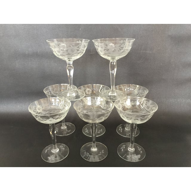Image of 1940s Floral Etched Champagne Coupes- Set of 8