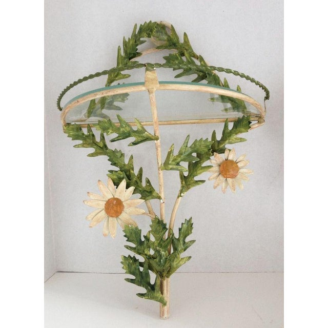 Tole Daisy Sconce Wall Shelves - Pair - Image 4 of 5
