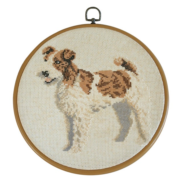 Vintage Needlepoint Fox Terrier - Image 1 of 5