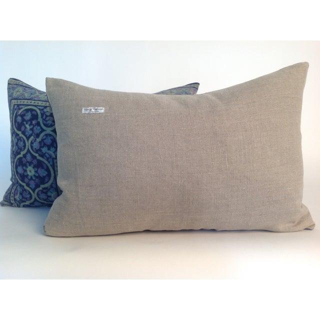 Vintage 1970s Block Print Pillows - A Pair - Image 3 of 4