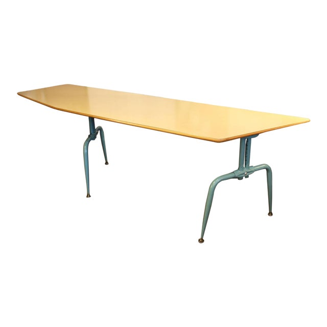 1950s French Laminated Plywood and Steel Adjustable Table - Image 1 of 10