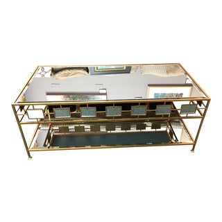 Federico Two Tier Gold Leaf Metal & Mirror Coffee Table