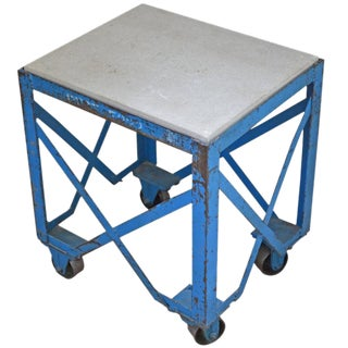 Industrial Concrete Top Steel Table on Wheels