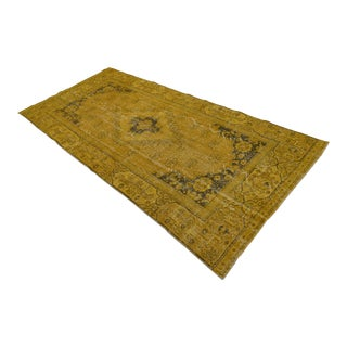 "Turkish Overdyed Mustard Hand Knotted Rug- 3'11"" x 8'4"""