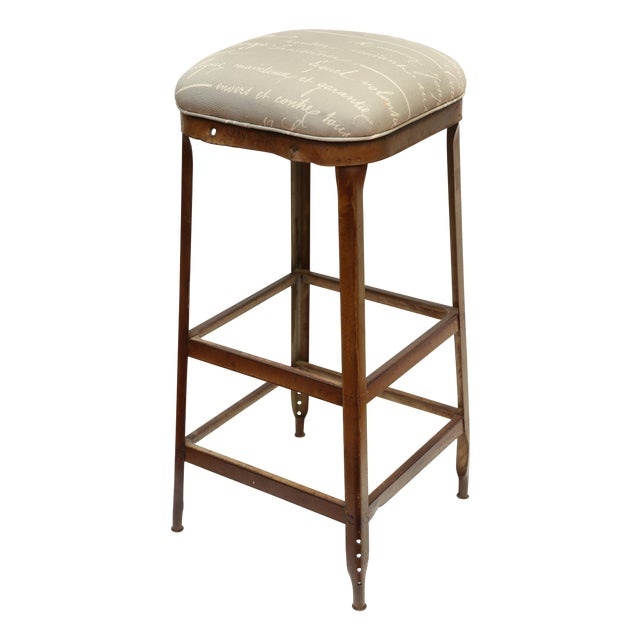 French Upholstered Industrial Stool - Image 1 of 5