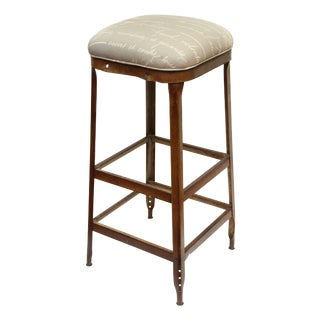 French Upholstered Industrial Stool