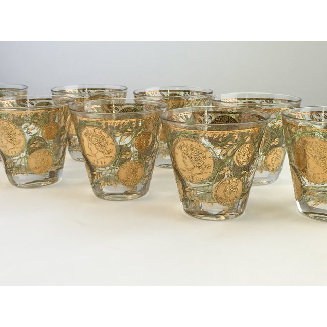 Culver Gold Liberty Coin Glasses - Set of 8 - Image 4 of 7