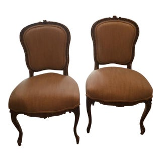 19th C. French Louis XV Gilt Wood Side Chairs - A Pair