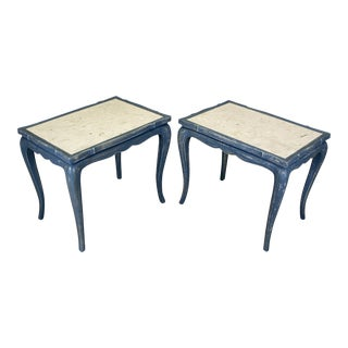 Vintage Side Tables With Granite Tops - A Pair
