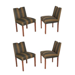 Set of Four Side Chairs with Bronze Accents, American, 1950s