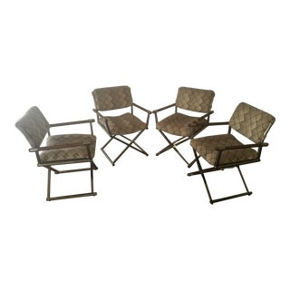 "Cal-Style Milo Baughman ""X"" Base Wood Arm Chairs - S/4"