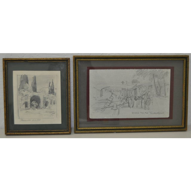 Image of Early 20th Century Drawings of France - Pair