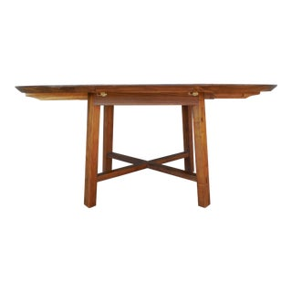 """Crate & Barrel Arts & Crafts Style Teak Dining Extension Table 66""""W"""