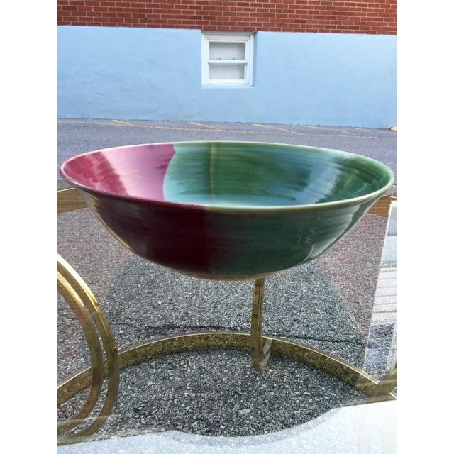 Large Jewel-Tone Glazed Bowl - Image 3 of 5