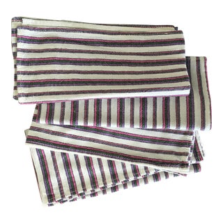 John Derian Pink Striped Linen Napkins, Set of 4