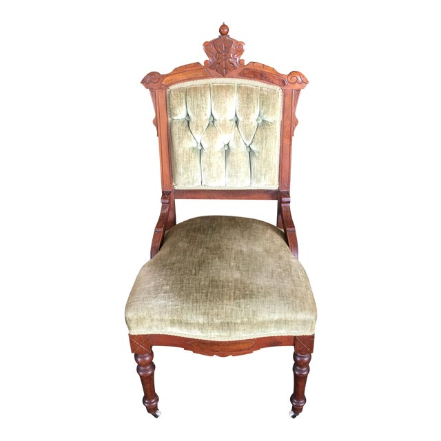 Antique Green Velvet Accent Chair - Image 1 of 7