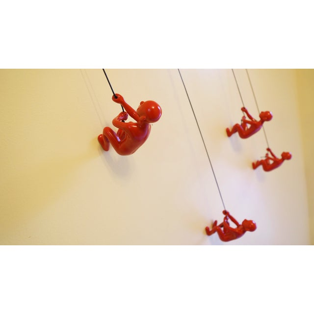 Red Position 3 Climbing Man Wall Art - Set of 4 - Image 2 of 6