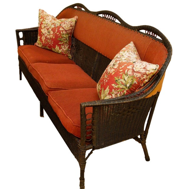 antique victorian style wicker sofa chairish. Black Bedroom Furniture Sets. Home Design Ideas