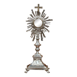 19th Century French Bronze Silvered Catholic Monstrance with Cross & Shining Sun