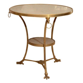 Vintage Bronze and White Marble Gueridon Table