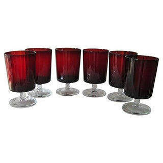 French Ruby Stemware - S/6
